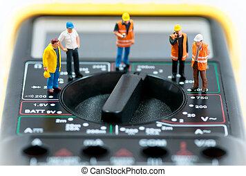 foto, macro, werkmannen , multimeter., miniatuur, team, bovenzijde