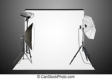 foto, mais claro, estúdio, vazio, equipamento