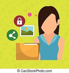 foto, mapp, kvinna, nät