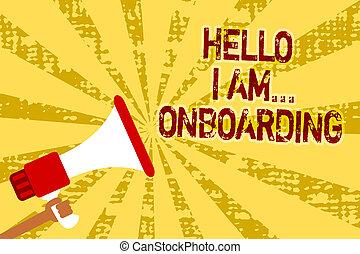 foto, messages., gele, scheeps , luidspreker, schrijvende , onboarding., vasthouden, tekst, conceptueel, u, megafoon, grunge, zakelijk, het tonen, am..., hand, schaaf, het vertellen, man, of, persoon, belangrijk, hallo