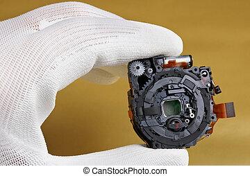 foto, moderno, controlli, lente, macchina fotografica, assy, tecnico, qualità