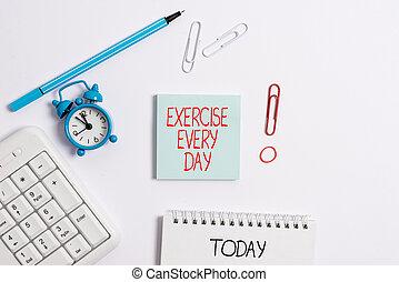 foto, movimento, nota papel, ajustar, espaço, escrita, day., vazio, corporal, lápis, negócio, adquira, mostrando, cada, cópia, saudável, relógio, exercício, showcasing, energeticamente, tabela., ordem