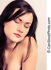 foto, mulher, closeup, jovem