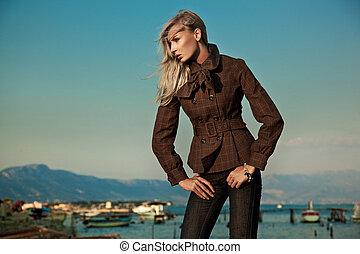 foto, mulher, elegante