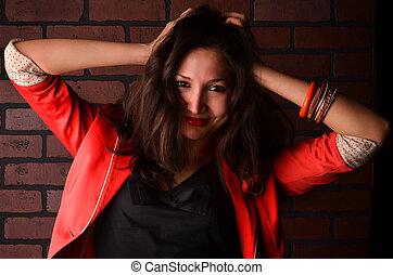 foto, mulher, jovem, atraente