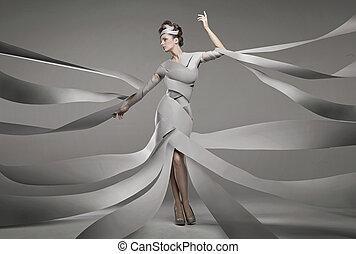 foto, mulher, moda, excitado