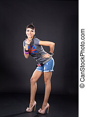 foto, mulher, posar, estúdio