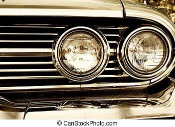 foto, nahaufnahme, scheinwerfer, retro, auto