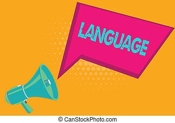 foto, negócio, falado, huanalysis, mostrando, language., escrita, método, texto escrito, um, palavras, comunicação, conceitual, mão, consistindo