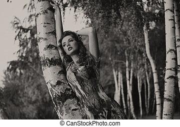 foto negra & blanca, de, agradable, vestido, mujer