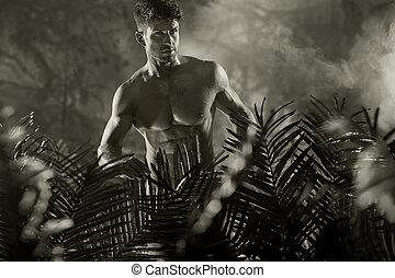 foto negra & blanca, de, el, desnudo, macho, modelo