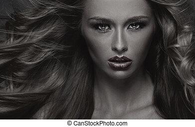 foto negra & blanca, de, sensual, mujer