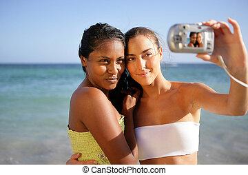foto, nehmen, friends, sich
