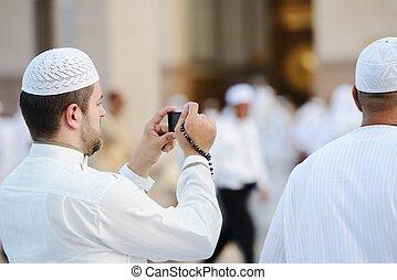 foto, nehmen, moslem, madina, haram