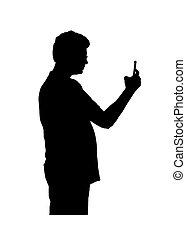 foto, nehmen, silhouette, freigestellt, mann