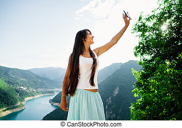foto, nehmen, telefon, m�dchen, selfie, glücklich
