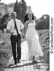 foto, noivo, parque, rapidamente, noiva, executando, sorrindo