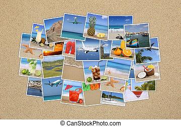 foto, nuvem, com, férias verão, praia, feriado, viajando, ligado, areia