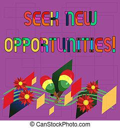 foto, opportunities., meldingsbord, een ander, gebogen, zoeken, kleurrijke, met de hand gemaakt, het kijken, instrument, tekst, conceptueel, nieuwe zaken, het tonen, werk, maracas, bloemen, staff., muzikalisch, verschiet, of