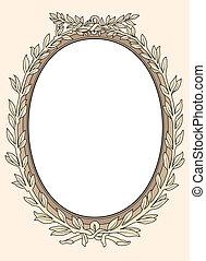 foto, ornamental, marco, vect, vendimia