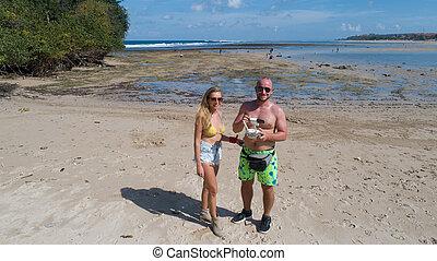 foto, paar, neuriën, taken, strand, vrolijke