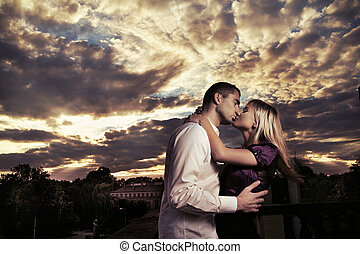foto, paar, romantische , küssende