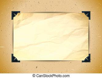 foto, papel amarrotado, cantos
