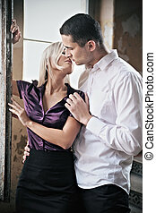 foto, par, romanticos, beijando