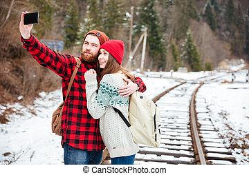 foto, par, selfie, estrada ferro, fazer
