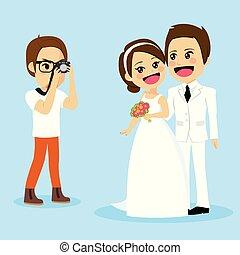 foto, par, sessão, recém casado
