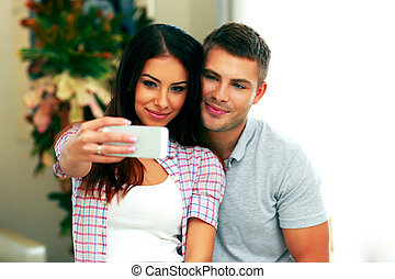 foto, par, smarphone, fazer, selfie, feliz