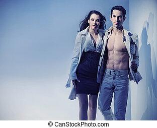 foto, pareja, dinámico, sexy