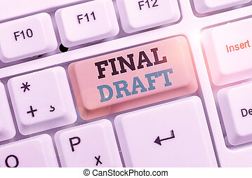 foto, partij, meldingsbord, tekst, draft., opmaak, eind-, iets, rewriting., na, conceptueel, versie, het tonen