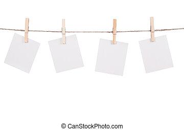 foto, penduradas, instante, varal, em branco