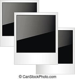 foto, polaroid, aislado, fondo., marcos, blanco
