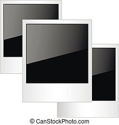 foto, polaroidkamera, isolerat, bakgrund., inramar, vit