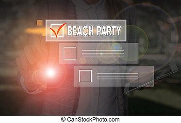 foto, praia., escrita, mão grande, texto, organizar, negócio, praia, partido., evento, grupo, mostrando, conceitual