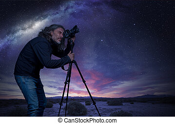foto, presa, cielo notte, fotografo