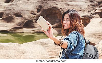 foto, presa, donna, asia