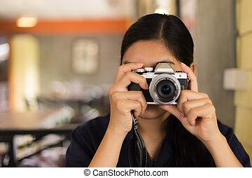 foto, presa, donna, asiatico
