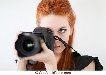 foto, presa, donna, giovane