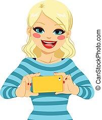 foto, presa, donna, smartphone