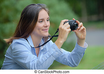 foto, presa, gioioso, ragazza, natura