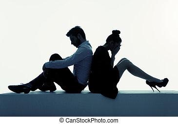 foto, presenenting, disperato, coppia