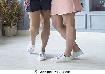 foto, primo piano, liscio, legs., femmina