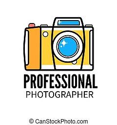 foto, professionale,  studio, sagoma, fotografo, logotipo, o