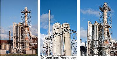foto, químico, planta industrial