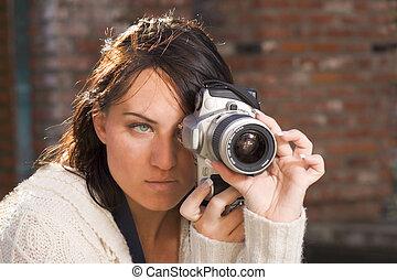 foto, ragazza, macchina fotografica, slr