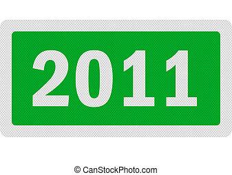foto, realistisch, '2011', meldingsbord, vrijstaand, op wit