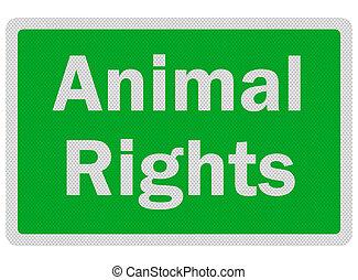 foto, realistisch, 'animal, rights', zeichen, freigestellt, weiß